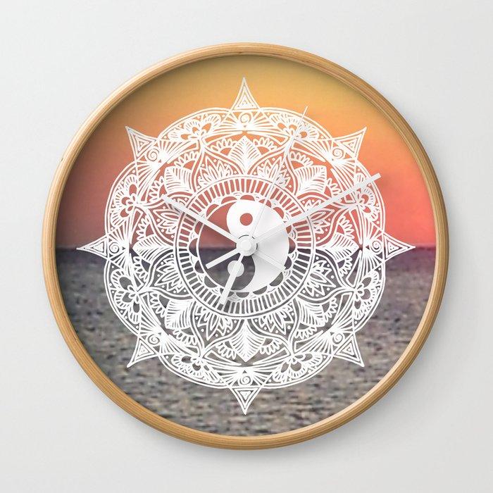 sunset yin yang mandala wall clock