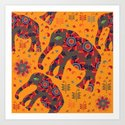Cute elephants in orange background Art Print