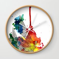Watercolor and Fine Liner Triangles Wall Clock