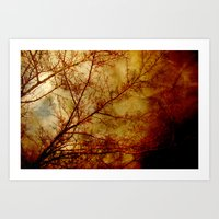 Gothic Red Trees Art Print