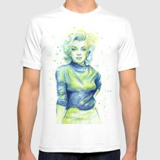 Marilyn Portrait Watercolor Painting SMALL Mens Fitted Tee White