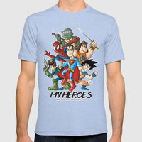 My Heroes Mens Fitted Tee Tri-Blue SMALL