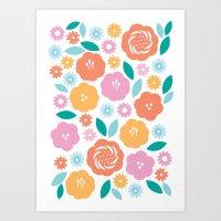 Cheerful Florals Art Print