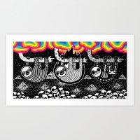 Sloths, Pyramids, Skulls, Rainbow Clouds Art Print