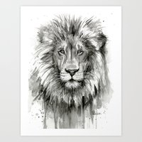 Lion Watercolor Black and White Animal Portrait Art Print
