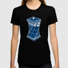tardis going up Womens Fitted Tee Black SMALL