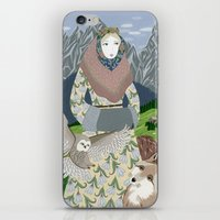 Lady with an owl and a dog iPhone & iPod Skin