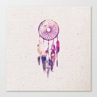 Girly Pink Purple Dream Catcher Watercolor Paint Canvas Print