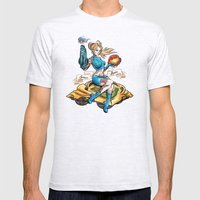 Pinup Samus Tattoo Bomber Girl Mens Fitted Tee Ash Grey SMALL