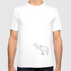 horn. SMALL White Mens Fitted Tee