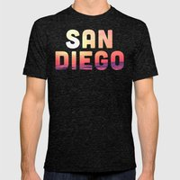 Mission Beach Sunset Mens Fitted Tee Tri-Black SMALL