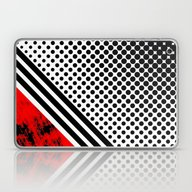 Laptop & iPad Skin featuring Red Lines And Dots by Nick Bizzack Designs