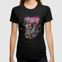 Floral Clover Womens Fitted Tee Tri-Black SMALL