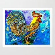 Crazy Chicken Art Print