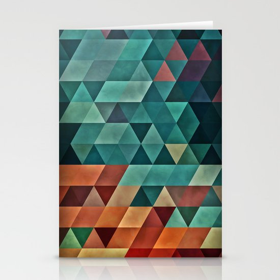Teal/Orange Triangles Stationery Card