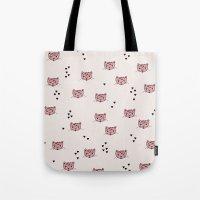 Cute kitty cat love illustration leopard pattern Tote Bag