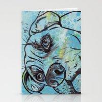 Blue Pit Bull Dog Stationery Cards