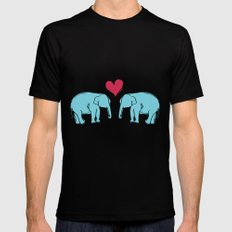Elephant Love Mens Fitted Tee SMALL Black
