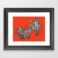 Waterfall In Red Framed Art Print