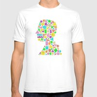 Mosaic Silhouette Mens Fitted Tee White SMALL