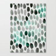 Dots Emerald Grey Canvas Print