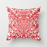 Illusionary Daisy (Red) Throw Pillow