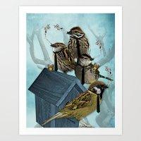 Smoking Birds Print Art Print