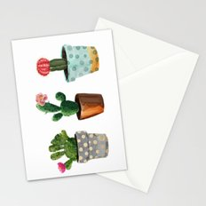 Three Cacti With Flowers On White Background Stationery Cards