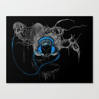 Blue Headphones Canvas Print