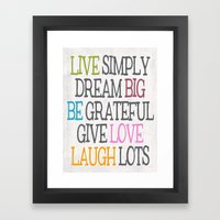 Live Simply Framed Art Print