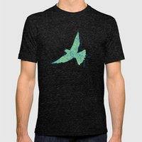 Bird Fly No. 2 (Blue/Green) Mens Fitted Tee Tri-Black SMALL