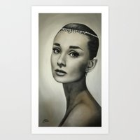 audrey hepburn Art Prints featuring Audrey Hepburn by Claire Lee Art