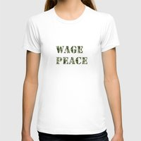 WAGE PEACE Womens Fitted Tee White SMALL