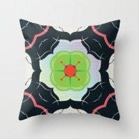 Vintage Tiles: Black  Throw Pillow
