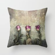 Three Dried Roses Throw Pillow