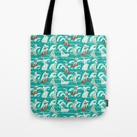 Floral Surfers Tote Bag
