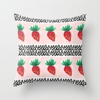 Abstract Strawberry Party Throw Pillow
