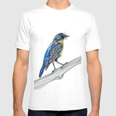 Bird Inspiration: Tickell's Blue Flycatcher White SMALL Mens Fitted Tee