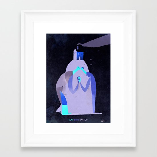 Love stays on top Framed Art Print