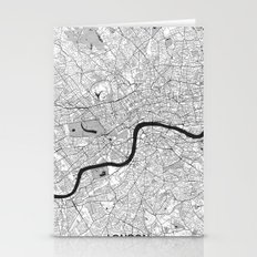 London Map Gray Stationery Cards