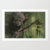 Lantern Lady  Art Print