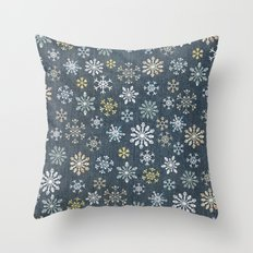 night time snow  Throw Pillow