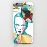 iPhone & iPod Case featuring Blue woman, sea and sun by Lorène Russo illustration