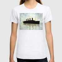 Titanic watercolour Womens Fitted Tee Ash Grey SMALL