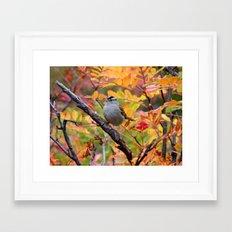 Bird in Autumn Foliage Framed Art Print