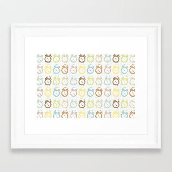 clocks pattern Framed Art Print