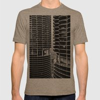 Bertrand's Buildings Mens Fitted Tee Tri-Coffee SMALL