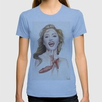 italian fashion 80s Womens Fitted Tee Athletic Blue SMALL