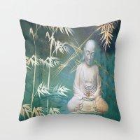 Buddha's awakening from deep meditation Throw Pillow