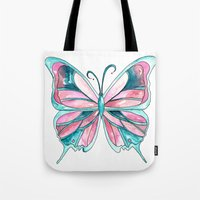 Pink And Blue Watercolor… Tote Bag